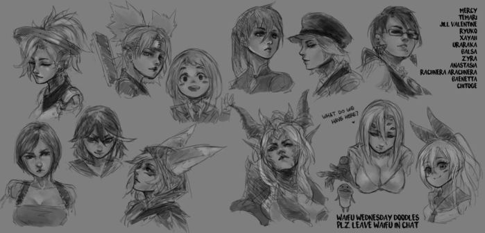 Waifu Wednesdays - Waifu Doodles from Twitch Chat by MonoriRogue