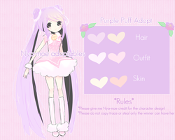 Purple Puff Adopt (OPEN!) -Lower Autobuy- by Nya-moe
