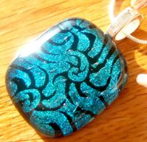 Dichroic Fused Glass Pendant by FireChickTick