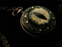Sovereign Deluxe Pocket Watch - Color Green Fire by LadyPirotessa