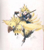 Cloud riding a Chocobo by MaximumOverdrive
