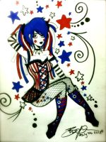 red white n blue goth pin up by BurgandyRoses