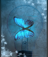 Blue Butterfly in a Light Bulb by bluemoonlily