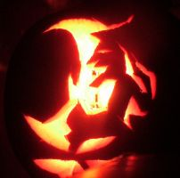 A Witch and her cauldron pumpkin carving. by EtaniaVII