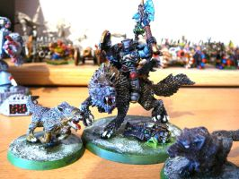 Space Wolves Lord on Thunderwolf with Wolves by victorymon