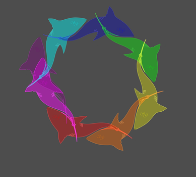 Sharks in a colore wheel.. by Scrapper-Girl