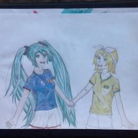 Miku and Rin - World cup soccer by OtakuFanMade