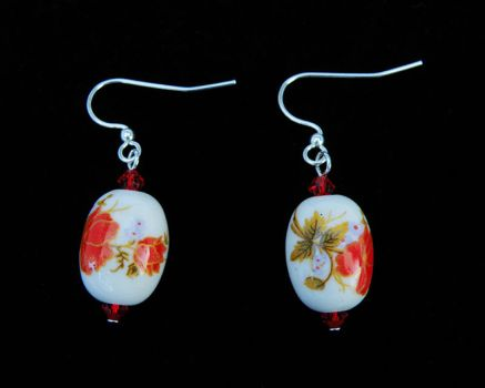 Red Floral Porcelain Earrings by Cillana
