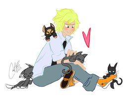 Adrien with Kittens by cartoonation