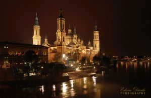 Basilica del Pilar at Night by E-Davila-Photography