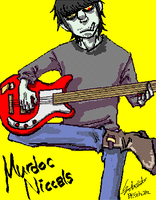 Murdoc with his guitar by Schwitz