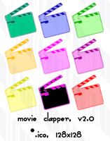 movie clapper v2.0 128 12icons by gr8koogly