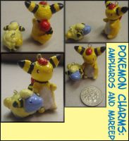 Pokemon Charms:Ampharos+Mareep by pokejewels