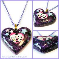 Resin Heart Necklace, Panda Love by xhellojackiex