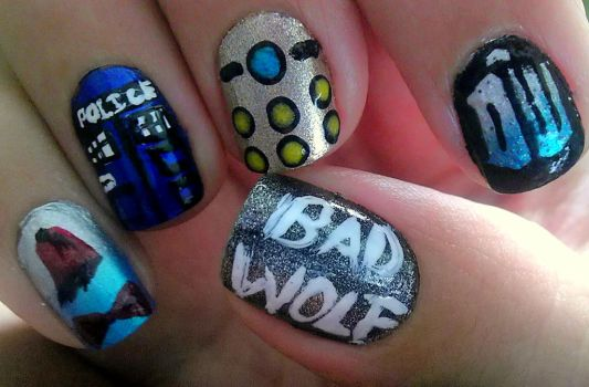 Dr. Who Nail Art by wolfgirl4716