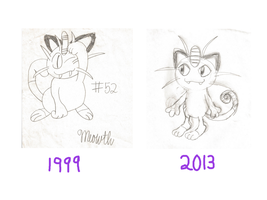 Meowth drawings Then and Now by YoshiGamerGirl