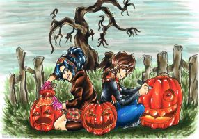 Collab: Carving Pumpkins by Doggy-Yasha