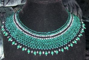 Teal and malachite collar by ladytech