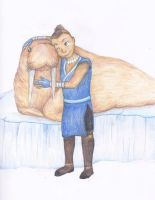 Sokka and his walrus by NoreyDragon