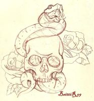 Skull and snake _sketch_ by Baitti