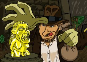 Indiana Jones stealing the idol by xAndyLG