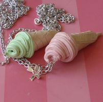 Big Ice Cream Cone Necklaces by FatallyFeminine