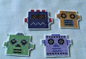 Funky Robot Magnets by agorby00