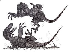 Deinonychus fight II by HodariNundu