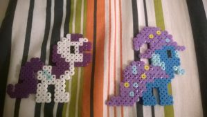 MLP Rarity and Trixie Perler Art by CellularSP
