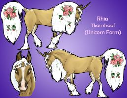 Rhia Thornhoof: Unicorn Form by SahrunLunar