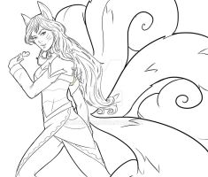 Fox Ahri Line Art - League of Legends by Luthien90