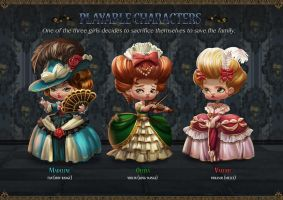 Project Blue Beard _ Playble characters by yangtianli