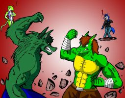 Hulk-Wolzard vs Suque by paladin095