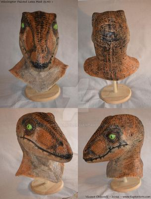 Painted Raptor Latex Mask - Jurassic Park quality by RaptorArts