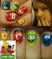sesame street nails by Ninails