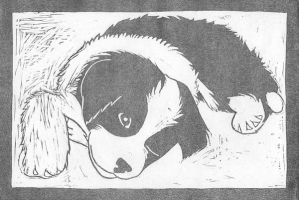 printed puppy lino cut by sketchpuppy
