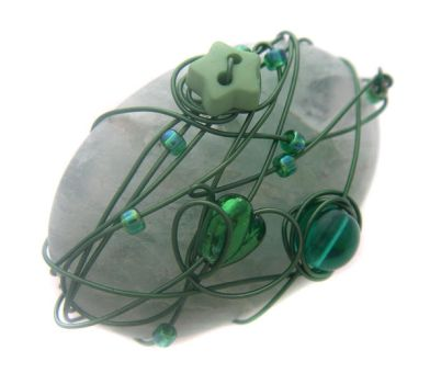Green Wire Wrapped Brooch by fairy-cakes