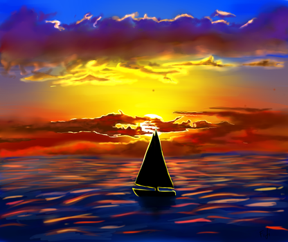 Sunrise At Sea by fifisart
