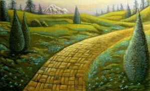 Yellow Brick Road.Green meadow by Leebea