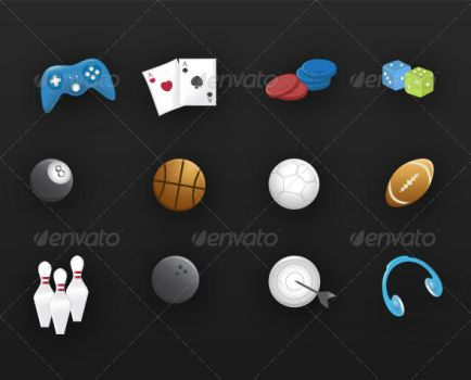 12 Games and Fun Icons by etnocad