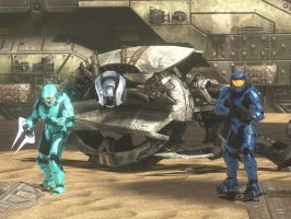 Tucker, Epsilon, and CABOOSE by ToaDeathax