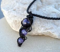 Amethyst beads wire wrapped goth pendant by IanirasArtifacts