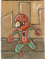 Spider-Man cardboard sketch card by johnnyism