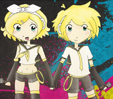 Kagamine Twins by Khodoku