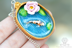 Koi fish pond handmade pendant(Polymer clay/resin) by Crystarbor