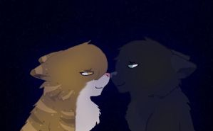 Leafpool and Crowfeather by Dawnshade1