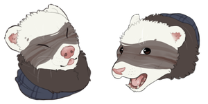 Ferret Small Headshot Commission Combo by Gelidwolf