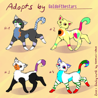 4 Cat Adoptables OPEN by H3ARTOFTHEOCEAN