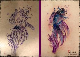 watercolor fish tattoo (cover up) by ellegottzi