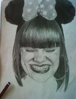 Jessie J , mickey mouse ears drawing by joksie